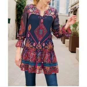 Soft Surroundings Iskra Printed Tunic Top Blue
